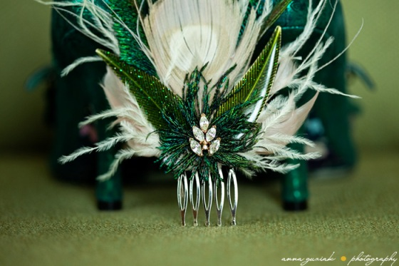vintage green hair pin