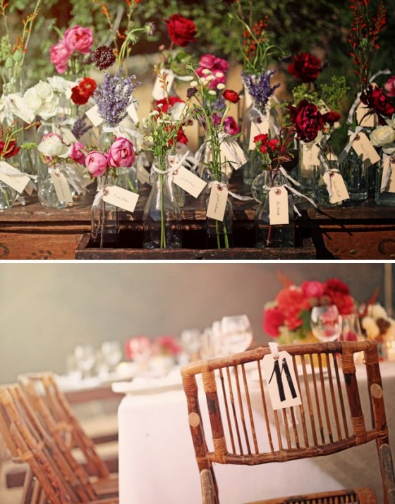 placecards on vases